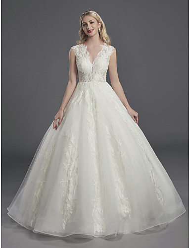 ba0d4be4423 Vera Wang Style Ball Gown V Neck Chapel Train Lace   Organza  Made-To-Measure Wedding Dresses with Beading   Lace by LAN TING BRIDE®    Sparkle   Shine