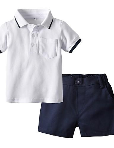 Djeca Dječaci Aktivan Osnovni Dnevno Škola Print Color block Kratkih rukava Regularna Normalne dužine Komplet odjeće Obala