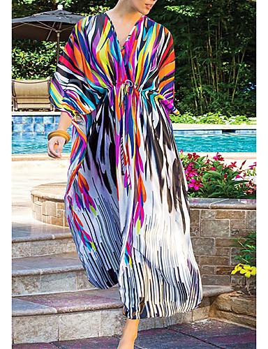 Aggressivo Per Donna Scollo Rotondo Arcobaleno Gonna Prendisole Costumi Da Bagno - Fantasia Geometrica Con Stampe Taglia Unica Arcobaleno - Sexy #07071112