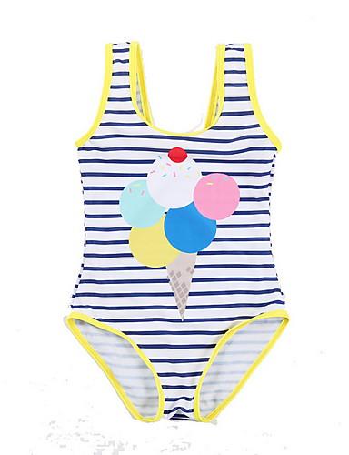 Bambino (1-4 Anni) Da Ragazza Quotidiano Tinta Unita Poliestere Costumi Da Bagno Blu #07070327