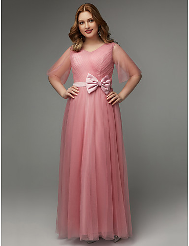 c353b53ef7 Plus Size A-Line V Neck Floor Length Tulle Prom Dress with Bow(s)   Sash    Ribbon by TS Couture®   Illusion Sleeve