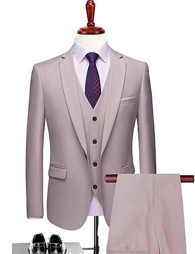 ราคาถูก ชุดเหย้า-สีพื้น Tailored Fit เส้นใยสังเคราะห์ สูท - ปกกว้าง กระดุมหนึ่งเม็ดเรียงแถวเดียว / ชุด