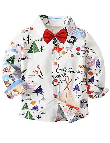 Dijete Dječaci Ulični šik Print Mašna Dugih rukava Regularna Majica Obala / Dijete koje je tek prohodalo