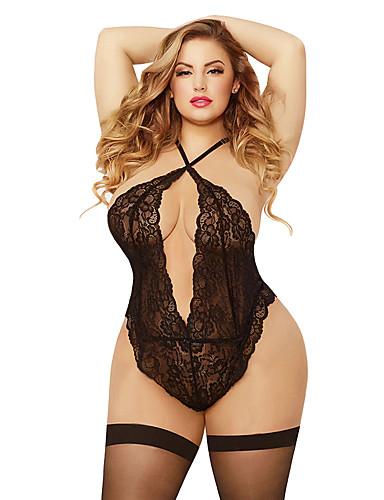 abordables Lencería de moda-Mujer Tallas Grandes Súper Sexy Teddy / Body Ropa de dormir - Encaje / Espalda al Aire, Regalo Un Color / Halter