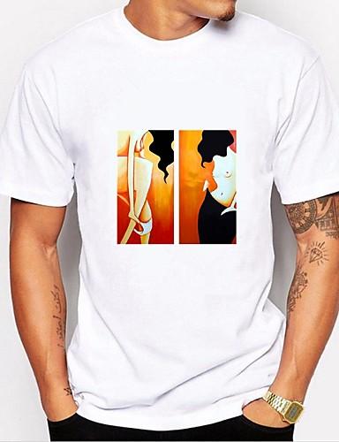 Χαμηλού Κόστους Πορτραίτο-Ανδρικά T-shirt Βασικό - Βαμβάκι Πορτραίτο Στρογγυλή Λαιμόκοψη Στάμπα Ασπρόμαυρο Λευκό XL / Κοντομάνικο