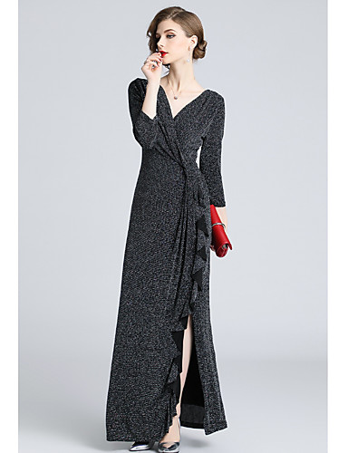 cheap Evening Dresses-A-Line V Wire Floor Length Jersey Formal Evening Dress with Ruffles by LAN TING Express