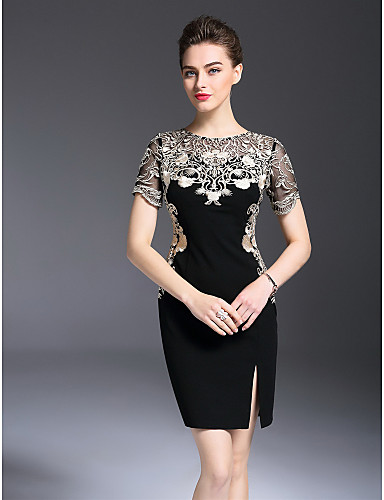 a6b21081f46 Women s Embroidery Plus Size Daily   Going out Slim Sheath Dress -  Embroidered Artistic Style Spring Black XL XXL XXXL