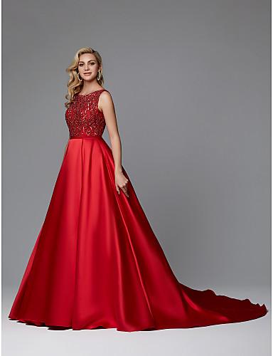 Krinolina Lađa izrez Srednji šlep Saten Formalna večer Haljina s Perlica po TS Couture®