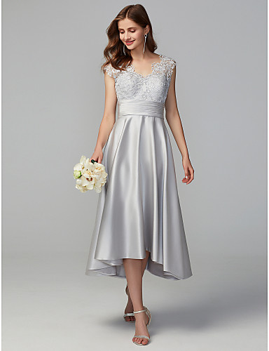 ac2277b751494 A-Line V Neck Asymmetrical Lace / Satin Bridesmaid Dress with Lace by LAN  TING BRIDE®