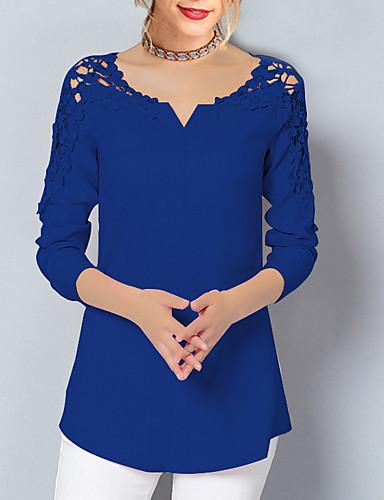 ราคาถูก เสื้อผู้หญิง-สำหรับผู้หญิง ขนาดพิเศษ เสื้อสตรี พื้นฐาน ลูกไม้ ลูกไม้ คอวี สีพื้น สีแดงชมพู