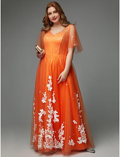 voordelige Grote maten jurken-A-lijn V-hals Tot de grond Tule Schoolfeest Jurk met Appliqués door TS Couture® / Illusie