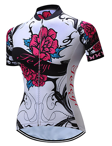 TELEYI Women s Short Sleeve Cycling Jersey - Red and White Floral    Botanical Bike Jersey Breathable Quick Dry Sports Polyester Mountain Bike  MTB Road Bike ... 3135ce31b