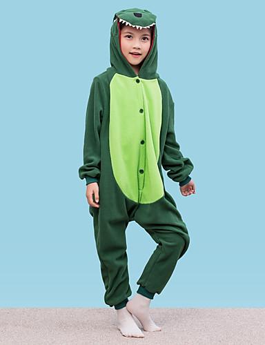 billige Kigurumi-Kigurumi-pysjamas Dinosaur Onesie-pysjamas Polar Fleece Grønn Cosplay Til Gutter og jenter Pysjamas med dyremotiv Tegnefilm Festival / høytid kostymer