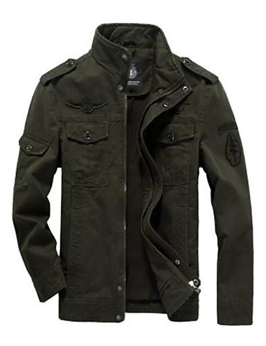 رخيصةأون ملابس خارجية-رجالي أسود أخضر داكن كاكي 4XL 5XL 6XL جاكيت أساسي لون سادة مرتفعة / كم طويل / الخريف / الشتاء