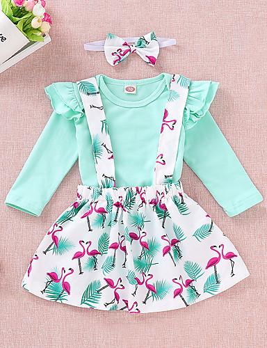 Toddler Girls' Active / Basic Print Long Sleeve Cotton / Spandex Clothing Set Light Green