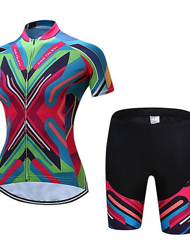 e9085b6e9eb TELEYI Women s Short Sleeve Cycling Jersey with Shorts - Green Bike Clothing  Suit Breathable Quick Dry Sports Polyester Reactive Print Mountain Bike MTB  ...