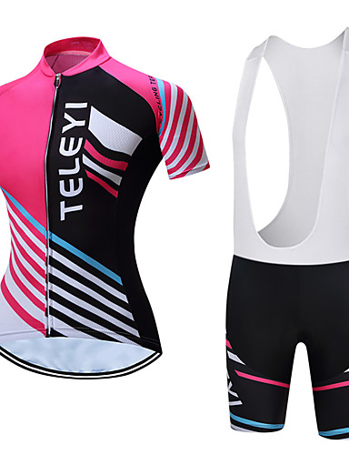 cheap Cycling Clothing-TELEYI Women's Short Sleeve Cycling Jersey with Bib Shorts - White Black Stripes Bike Clothing Suit Breathable Sports Polyester Word Mountain Bike MTB Road Bike Cycling Clothing Apparel / Stretchy