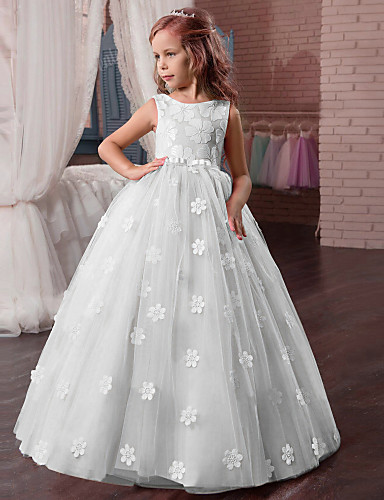 aa7d98c9b9 Princess Long Length Flower Girl Dress - Tulle   Mikado Sleeveless Jewel  Neck with Appliques by LAN TING Express