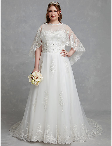 34d1c65ff58 Plus Size A-Line Jewel Neck Court Train Lace   Tulle Made-To-Measure Wedding  Dresses with Crystals   Lace by LAN TING BRIDE®   Beautiful Back