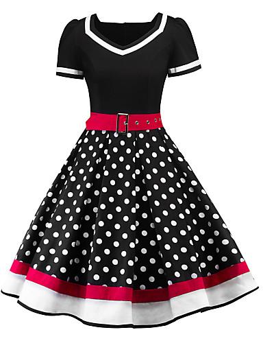 Audrey Hepburnová Puntíky Retro 50. léta Kostým Dámské Šaty Černá   Červená  Retro Cosplay Krátký rukáv Trička Ke kolenům 0c3a29655e