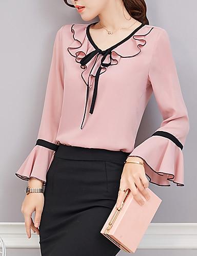 abordables Camisas y Camisetas para Mujer-Mujer Básico Noche / Trabajo Cortado / Volante - Algodón Blusa, Escote en V Profunda Un Color Rosa L / Primavera