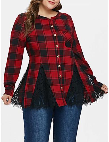 billige Dametopper-Løstsittende Skjorte Dame - Grafisk, Blonde / Lapper Grunnleggende / Gatemote Svart & Rød Rød L