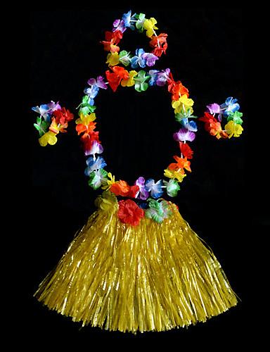 halpa Etniset & Cultural Puvut-Havaijilainen Hula-tanssija Havaijin puvut Lasten Poikien Aktiivinen Joulu Halloween Karnevaali Festivaali / loma PVC Vihreä / Sininen / Pinkki Karnevaalipuvut Kukka
