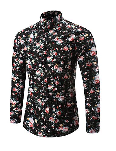 cheap Men's Plus Sizes-Men's Military Plus Size Shirt - Geometric Print / Long Sleeve