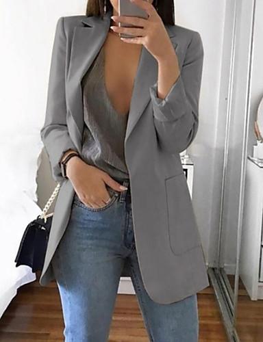 preiswerte Damen Überbekleidung-Damen Alltag Grundlegend Frühling Standard Blazer, Solide Gekerbtes Revers Langarm Polyester Rosa / Grau / Khaki