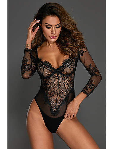 aa37d9687e9 Women s Super Sexy Lace Lingerie   Teddy   Bodysuits Nightwear - Lace    Print Embroidered   Deep V