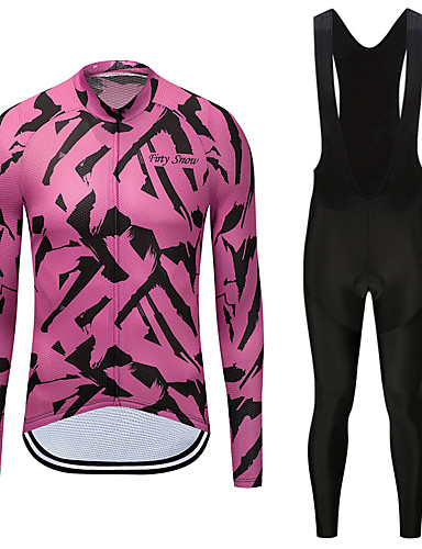 cheap Cycling Clothing-FirtySnow Men's Long Sleeve Cycling Jersey with Bib Tights - White Black Zebra Bike Clothing Suit Fleece Lining Quick Dry Winter Sports Polyester Zebra Mountain Bike MTB Road Bike Cycling Clothing