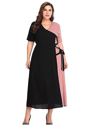 671b851d352f Γυναικεία Λεπτό Σε γραμμή Α Φόρεμα Μίντι Λαιμόκοψη V