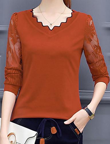 abordables Hauts pour Femme-Tee-shirt Femme, Couleur Pleine Basique Chameau