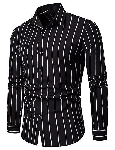 cheap Men's Shirts-Men's Work Business Asian Size Slim Shirt - Striped / Long Sleeve