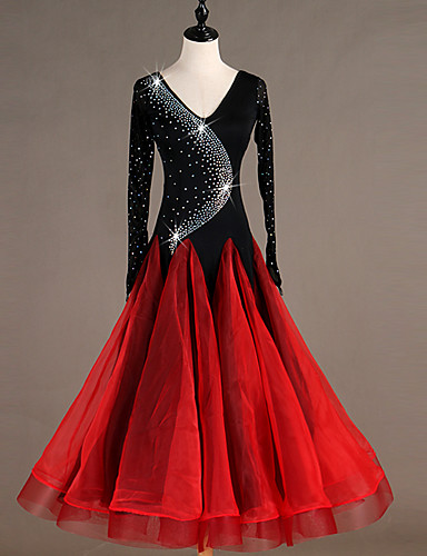 voordelige Shall We®-Ballroomdansen Jurken Dames Prestatie Spandex Combinatie / Kristallen / Bergkristallen Lange mouw Kleding