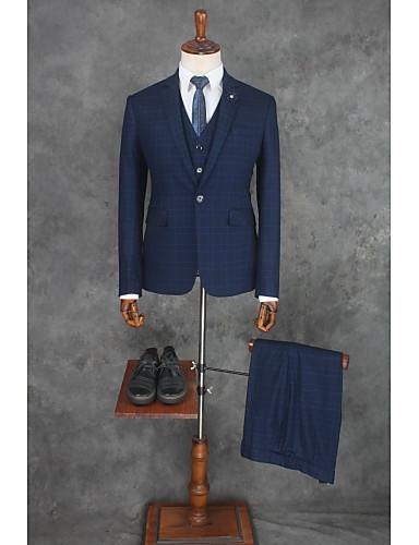 billiga Brudgum och marskalkar-Randig Skräddarsydd passform Bomull / Polyester Kostym - Smalt trubbig Singelknäppt 1 Knapp