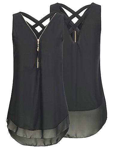 povoljno Ženske majice-Veći konfekcijski brojevi Bluza Žene Dnevno Color block V izrez Rupica / Chiffon / Zatvarač Crn / Proljeće / Ljeto / Jesen