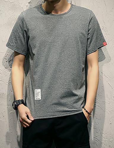 男性用 プラスサイズ Tシャツ ラウンドネック ソリッド / 半袖