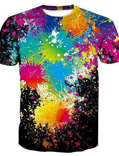 voordelige Heren T-shirts & tanktops-Heren Standaard / overdreven Print T-shirt Regenboog Ronde hals Regenboog / Korte mouw / Zomer