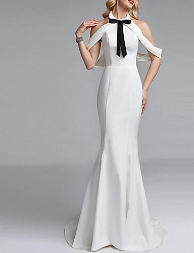 voordelige Maxi-jurken-Dames Feest Standaard Slank Schede Jurk - Effen Halter Maxi / Sexy