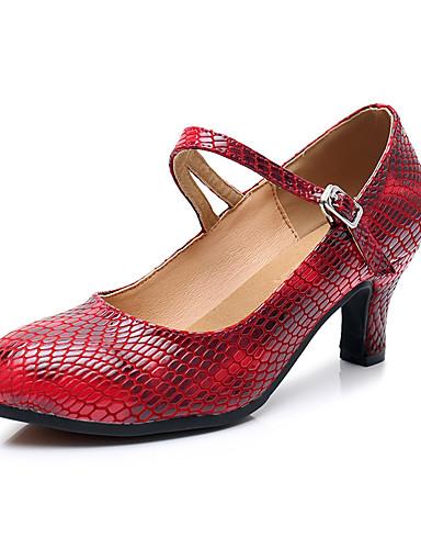 97ab474620fd3 نسائي أحذية عصرية Leather نابا كعب كعب كوبي مخصص أحذية الرقص أحمر داكن