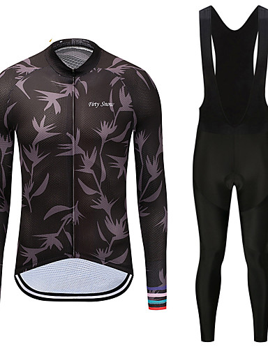 cheap Cycling Clothing-FirtySnow Men's Long Sleeve Cycling Jersey with Bib Tights - White Black Leaf Bike Clothing Suit Fleece Lining Quick Dry Winter Sports Polyester Leaf Mountain Bike MTB Road Bike Cycling Clothing