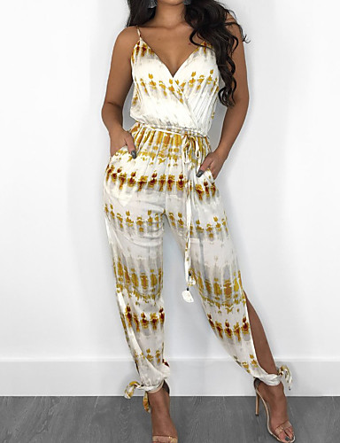 cheap Women's Jumpsuits & Rompers-Women's Party / Going out V Neck White Yellow Pencil Slim Jumpsuit, Geometric XL XXL XXXL Sleeveless Spring Summer
