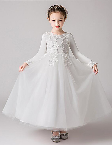5d752768430 A-Line Ankle Length Flower Girl Dress - Polyester   Tulle Long Sleeve Jewel  Neck with Embroidery   Solid   Trim by LAN TING Express 7107100 2019 –   59.99
