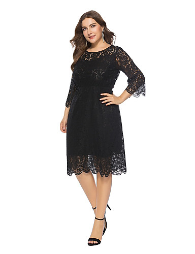 0f3502af4ae Women s Plus Size Holiday Going out Vintage Street chic Loose Chiffon Dress  - Solid Colored Lace High Waist Spring Black Red XXXXL XXXXXL XXXXXXL