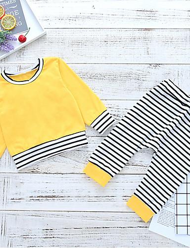 Μωρό Κοριτσίστικα Κομψό στυλ street Καθημερινά Ριγέ Μακρυμάνικο Κανονικό Πολυεστέρας Σετ Ρούχων Κίτρινο