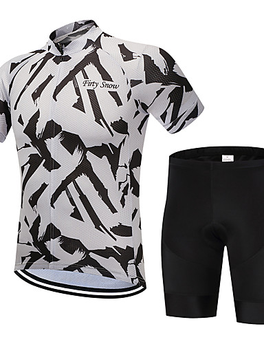 a9b4955b1 FirtySnow Men s Short Sleeve Cycling Jersey with Shorts - Black   White  Zebra Bike Clothing Suit Breathable Quick Dry Sports Polyester Zebra Mountain  Bike ...
