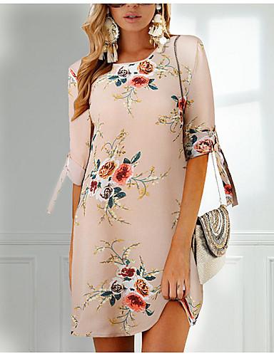 billige Kjoler-Dame Ferie Chiffon Kjole - Blomstret, Trykt mønster Mini