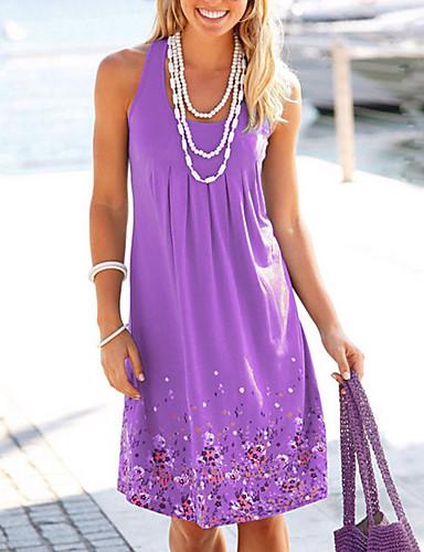 29e1647a0659 Women's Daily Slim Shift Dress - Floral High Waist U Neck Yellow Fuchsia  Light Blue XXXL