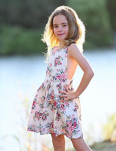 שמלה ללא שרוולים תחרה / שרוכים לכל האורך / דפוס פרחוני סגנון חמוד בנות ילדים / פעוטות